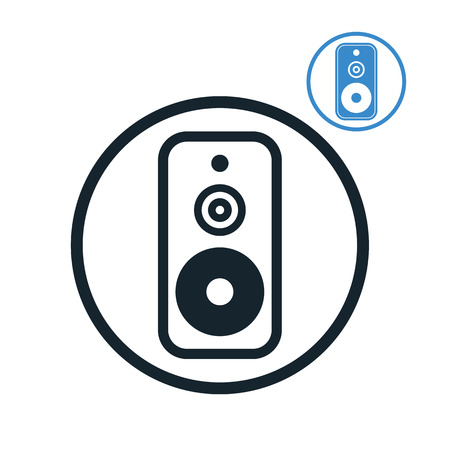 Audio speaker icon isolated, single color vector music theme symbol for your design, 2 versions set. Vector