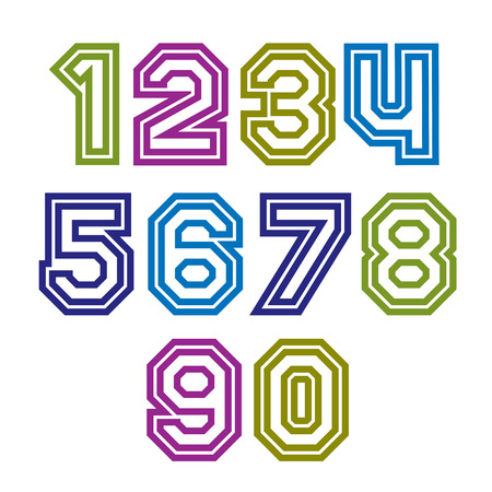 Colorful regular stripy numeration, modern vector poster numbers with outline and straight lines.