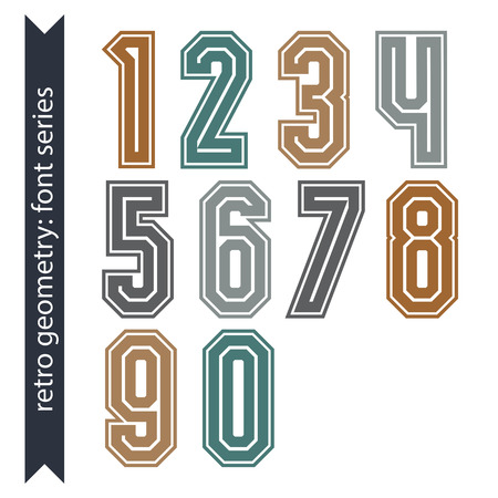 web 2 0: Colorful regular acute-angled digits, bright vector poster numbers with outline isolated on white background.