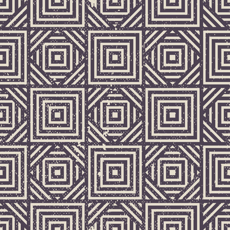 simplistic: Old geometric seamless pattern, vintage vector repeat background with grunge texture. Illustration