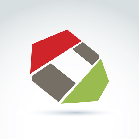 parallelogram: Bright complex geometric corporate element created from separate parts. 3d abstract emblem.