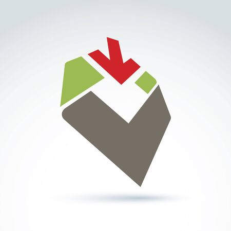 parallelogram: Bright complex geometric corporate element created from separate parts. 3d abstract emblem with red down arrow and a checkmark.