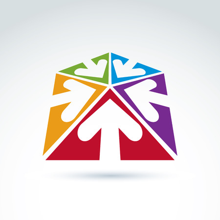 multidirectional: 3d abstract emblem with five multidirectional arrows placed in triangles – up, down, left, right. Conceptual corporate symbol, brand icon.