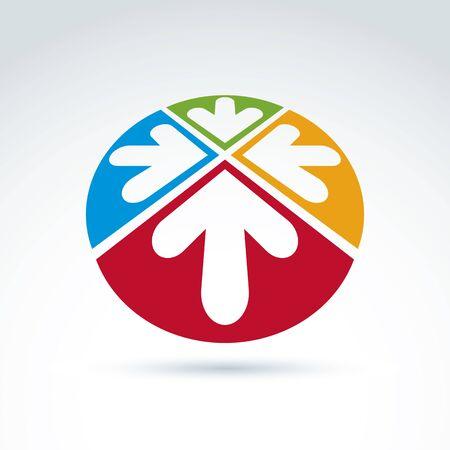sectores: Emblema 3d abstracto con cuatro flechas multidireccionales colocados en sectores - arriba, abajo, izquierda, derecha. S�mbolo corporativo conceptual, marca redondeado icono.