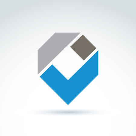 Vector abstract corporate design element. Geometric symbol, blue checkmark, infographics icon. Vector
