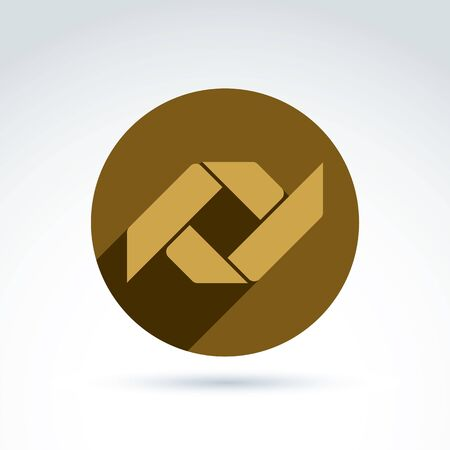 parallelogram: Vector bronze geometric abstract emblem placed in a circle. Corporate element isolated on white background. Illustration