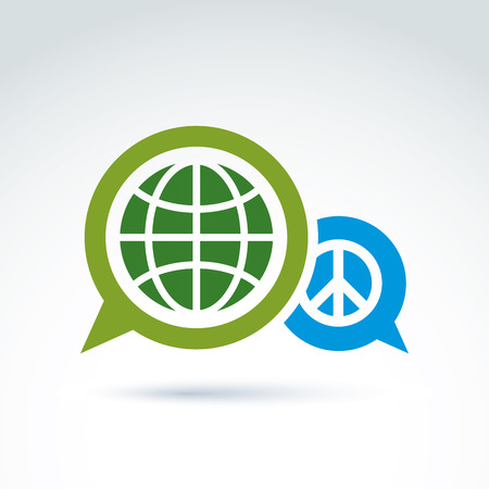 Round antiwar vector icon, green planet and speech bubble with peace sign. Dialogue on global peace theme. Vector