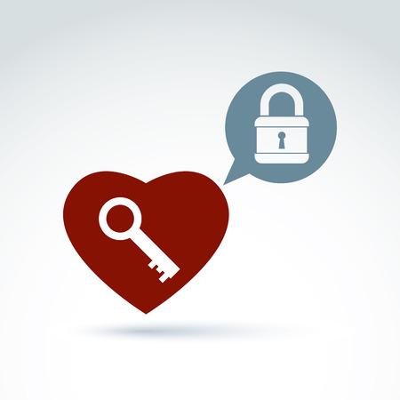 secret love: Vector coraz�n rojo con una clave aisladas sobre fondo blanco s�mbolo de amor secreto, conceptual privacidad Icono de chat burbuja con un candado Vectores