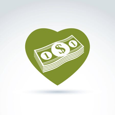 love of money: Love money success, greed, crediting and depositing, wealth and money theme icon, vector conceptual special symbol for your design