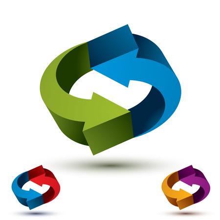 Arrows abstract loop symbol, vector conceptual pictogram template, vector 3d icon set. Illustration