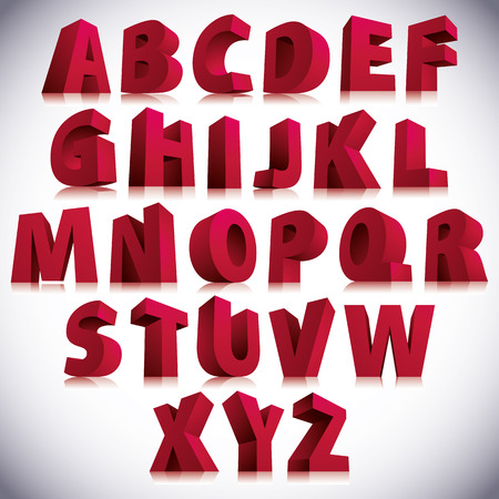 3D font, big red letters standing