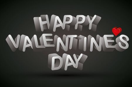 Happy Valentine%u2019s Day phrase made with 3d letters and red heart over dark background Vector