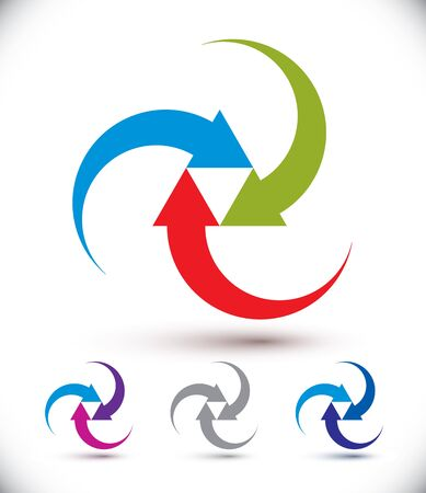 Arrows abstract loop symbol, vector conceptual pictogram template, vector icon set.