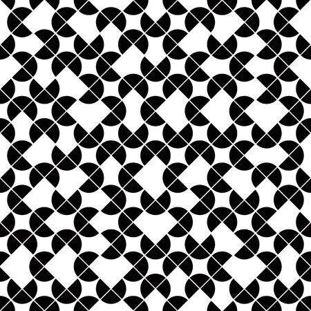 Black and white geometric seamless pattern, vector contrast spherical background. Vector