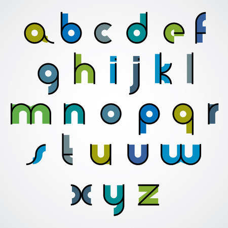 constructive: Colorful funny binary cartoon font with rounded lower case letters. Illustration