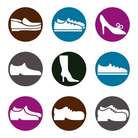 Footwear icon set Vector