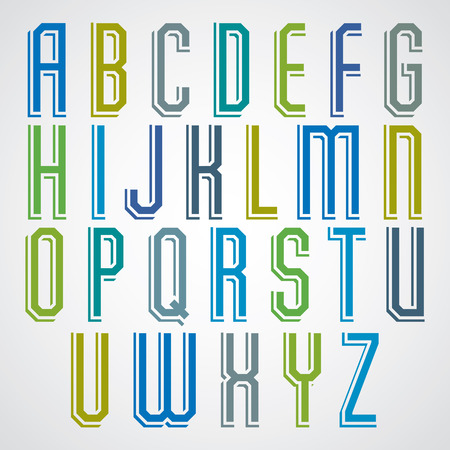 narrow: Colorful decorative font, geometric narrow uppercase letters with white outline.