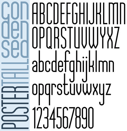 Poster black tall condensed font and numbers.