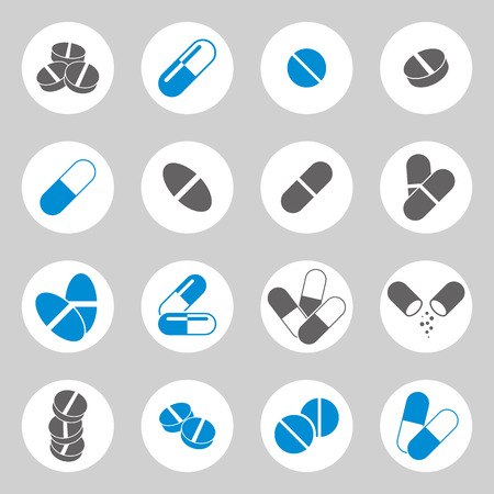 Medical pills icons set, vector collection. Vector