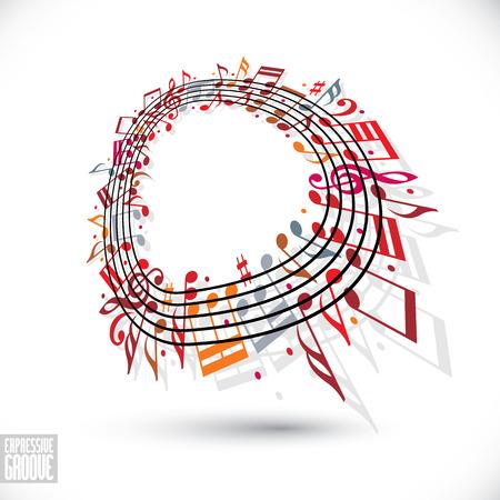 kifejező: Kifejező Groove. Red zenei háttér kulcsban, és tudomásul veszi, kotta kerekített keret, zenei téma sablont a design. Illusztráció