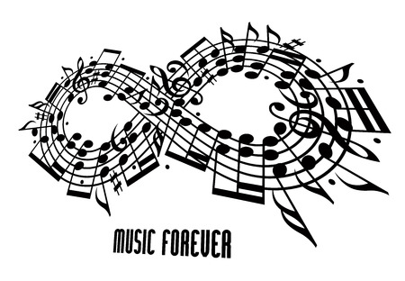 mobius symbol: Forever music concept, infinity symbol made with musical notes and treble clef, expressive shape design rotated in 3d, black and white, idea for your music theme design. Illustration