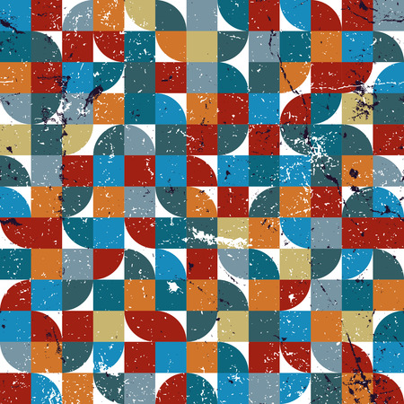 crannied: Vector geometric colorful textile abstract seamless pattern, squared jolly mosaic canvas.