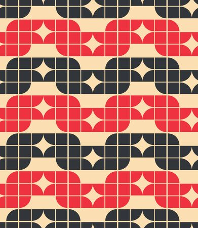 covering cells: Vector colorful geometric background, red and black rhombic abstract seamless pattern.