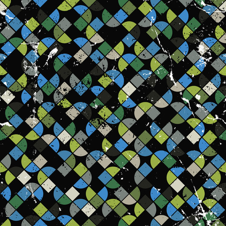 crannied: Vector geometric colorful abstract seamless pattern, worn contrast canvas.