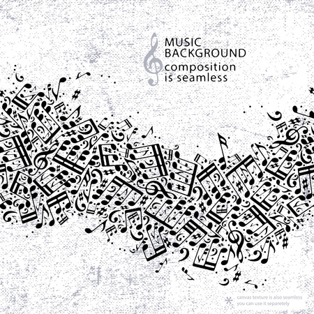 Vector light dotted seamless music background, canvas texture with horizontal band of musical notes and treble clefs.