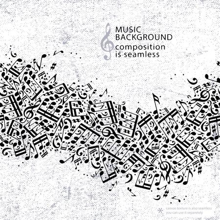 notas musicales: Vector de puntos de luz de fondo de la m�sica sin fisuras, la textura de la lona con la banda horizontal de las notas musicales y clefs agudos.