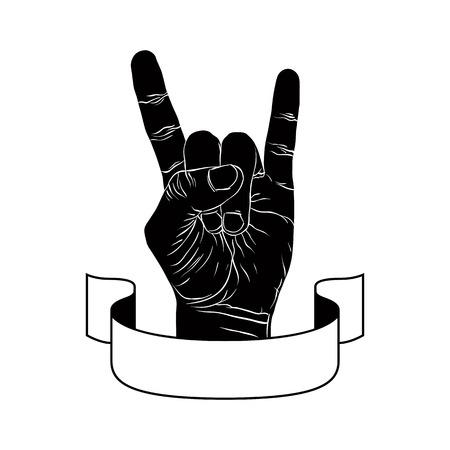 kemény: Rock kézzel kreatív jele szalaggal, zenei jelképe, rock n roll, hard rock, heavy metal, zene, részletes fekete-fehér vektoros illusztráció.