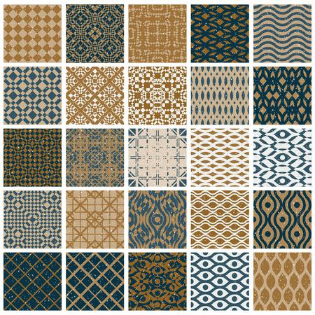 Vintage tiles seamless patterns, 25 designs vector set. Illustration