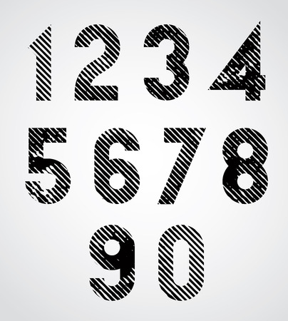numeration: Black spotted numbers with diagonal lines.