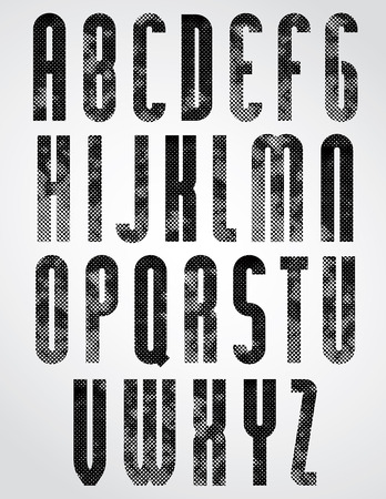 Black dotty graphic upper case letters, rounded industrial font.  Vector