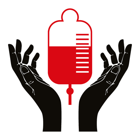 Hand with blood donation vector symbol. Vector