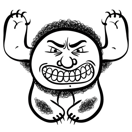 nutty: Angry cartoon monster, black and white lines vector illustration.