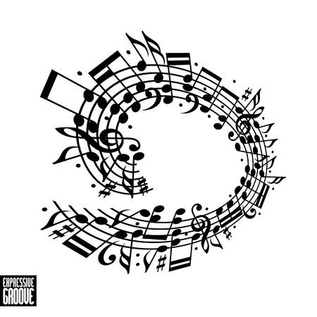 kifejező: Kifejező barázda koncepcióját. Fekete-fehér design. Zene háttér kulcsban, és megjegyzi, kotta lekerekített keret, zenei téma sablont, a design.