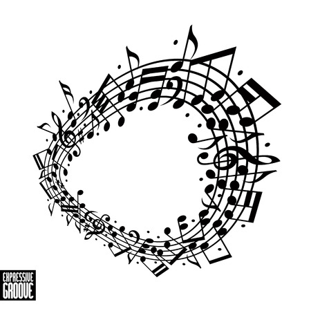 Expressive groove concept. Black and white design. Music background with clef and notes, music sheet in rounded frame, musical theme template for your design. Vector