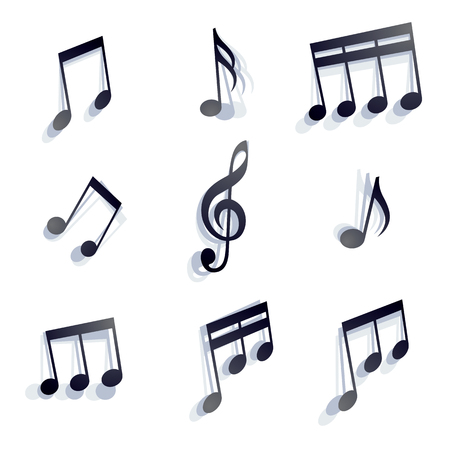Vector black monochromatic musical notes and symbols isolated on white background. Vector