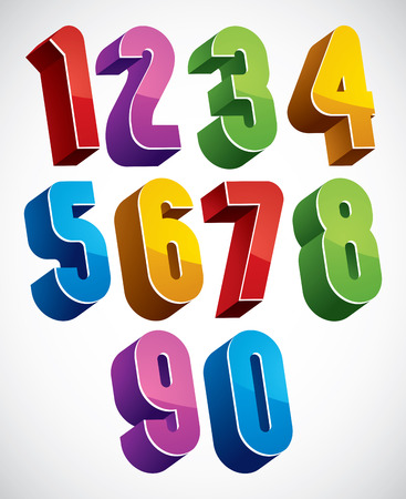 3d numbers set made with round shapes, colorful glossy numerals for advertising and web design. Illustration