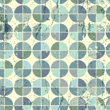 frayed: Colorful frayed textile geometric seamless pattern, decorative spherical abstract infinite retro background.