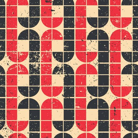 crannied: Vintage red and black geometric seamless pattern, vector abstract background.