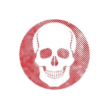 Skull vector icon with pixel print halftone dots texture. Vector