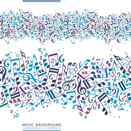 Vector colorful horizontal music canvas, seamless tape with striped musical notes on white background.