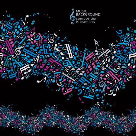 clefs: Vector colorful dotted seamless music background, bright horizontal canvas with musical notes and treble clefs.