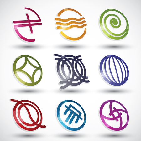 Abstract icons 3d designs vector set, round symbols collection. Vector
