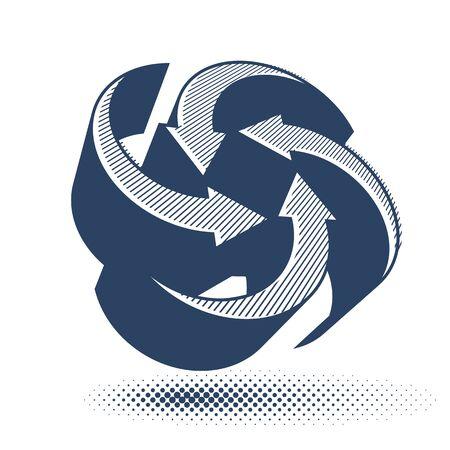 Abstract arrows vector symbol, vector graphic design template, vector 3d single color icon. Vector