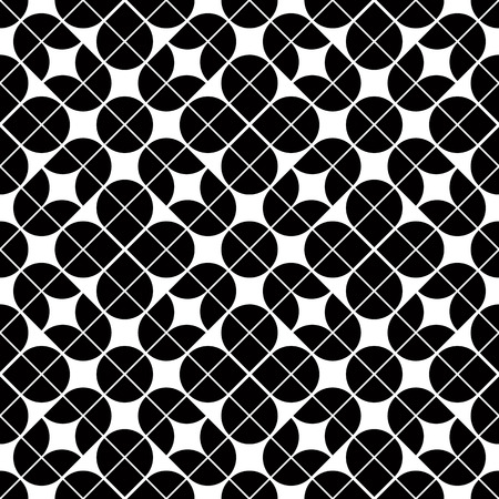 covering cells: Black and white geometric abstract seamless pattern, vector contrast floral background.