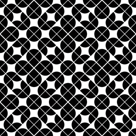 illusory: Modelo blanco y negro abstracto geom�trico sin fisuras, el contraste de fondo vector floral.