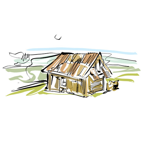 Colorful hand drawn house, illustrated country house.  Vector